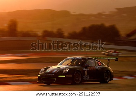 BARCELONA, SAPIN-SEP 7: Team formed by Daniel Uckermann, Jurgen Daum and Marko Klein races in a Porsche 997 in the 24 Hours of Barcelona, at Catalunya Circuit, on Sep 7, 2014 in Barcelona, Spain - stock photo