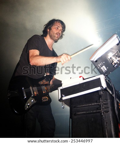 BARCELONA - SEP 2: Midnight Juggernauts (band) performs at Razzmatazz Clubs on September 2, 2011 in Barcelona, Spain. - stock photo