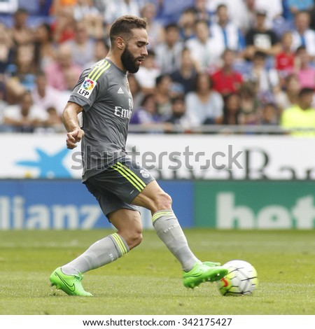 BARCELONA - SEPT, 12: Dani Carvajal of Real Madrid during a Spanish League match against RCD Espanyol at the Power8 stadium on September 12 2015 in Barcelona Spain - stock photo