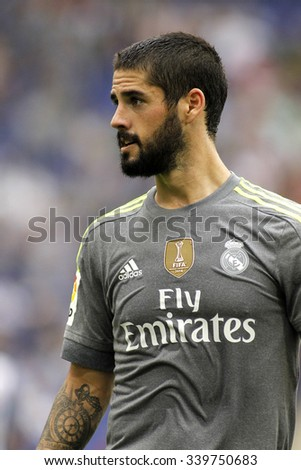 BARCELONA - SEPT, 12: Isco Alarcon of Real Madrid during a Spanish League match against RCD Espanyol at the Power8 stadium on September 12, 2015 in Barcelona Spain - stock photo