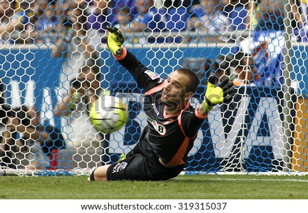 BARCELONA - SEPT, 12: Pau Lopez of RCD Espanyol during a Spanish League match against Real Madrid CF at the Power8 stadium on September 12 2015 in Barcelona Spain - stock photo