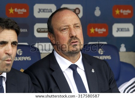 BARCELONA - SEPT, 12: Rafael Benitez manager of Real Madrid during a Spanish League match against RCD Espanyol at the Power8 stadium on September 12 2015 in Barcelona Spain - stock photo