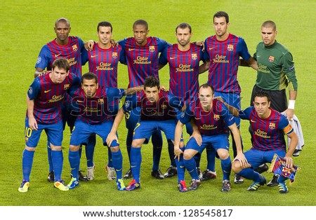 BARCELONA - SEPTEMBER 13: FC Barcelona lineup at the Champions League match between FC Barcelona and Milan, final score 2 - 2, on September 13, 2011, in Camp Nou stadium, Barcelona, Spain. - stock photo