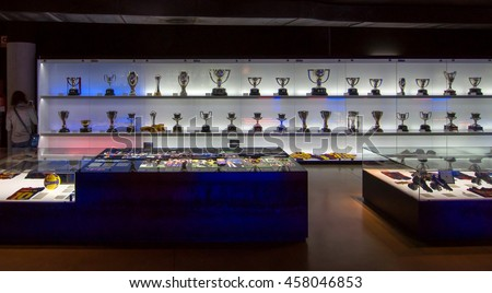 BARCELONA - SEPTEMBER 22, 2014: One of the trophy galleries at the FC Barcelona museum.Camp Nou, Barcelona, Spain. - stock photo