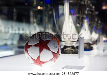BARCELONA - SEPTEMBER 22, 2014: UEFA Champions League Ball in museum. UEFA Cup - trophy awarded annually by UEFA to the football club that wins the UEFA Champions League. Camp Nou, Barcelona, Spain. - stock photo