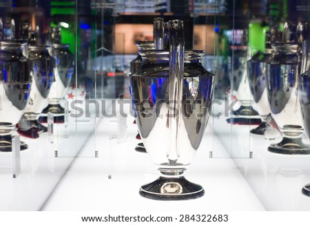 BARCELONA - SEPTEMBER 22, 2014: UEFA Champions League Cup in museum. UEFA Cup - trophy awarded annually by UEFA to the football club that wins the UEFA Champions League. Camp Nou, Barcelona, Spain. - stock photo