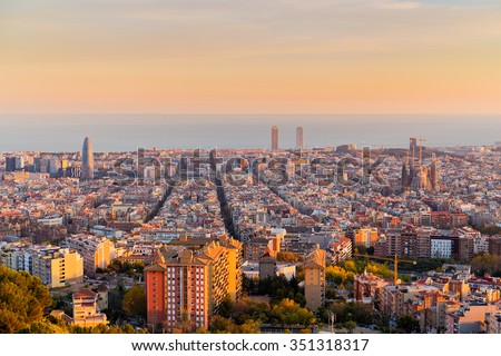 Barcelona skyline in te afternoon at Golden Hour - stock photo