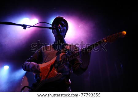 BARCELONA, SPAIN - APR 15: Deerhunter band performs at Apolo on April 15, 2011 in Barcelona, Spain. - stock photo