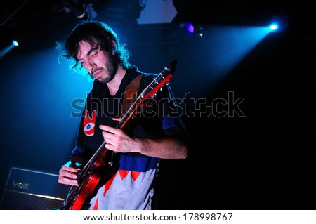 BARCELONA, SPAIN - APRIL 4, 2012: Black Box Revelation (Belgian garage rock band) performs at Music Hall  - stock photo