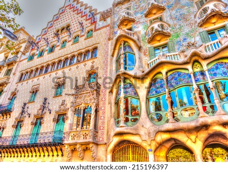 BARCELONA, SPAIN -AUG 30, 2009: The famous casa Battlo building designed by Antonio Gaudi in Barcelona, Spain on Aug 30, 2009. HDR processed - stock photo