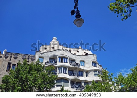 BARCELONA, SPAIN - AUGUST 1, 2015: Casa Mila or known as La Pedrera, designed by Antoni Gaudi, Barcelona, Spain - stock photo