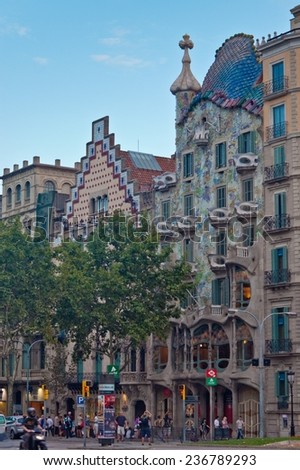 BARCELONA, SPAIN - AUGUST 15: Facade of the house Casa Batllo on August 15, 2010. The house was designed by Antoni Gaudi with his famous style. - stock photo