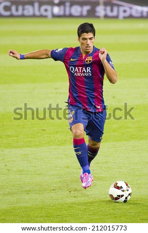 BARCELONA, SPAIN - AUGUST 18: Luis Suarez in action at Gamper friendly match between FC Barcelona and Club Leon FC, final score 6-0, on August 18, 2014, in Camp Nou, Barcelona, Spain. - stock photo