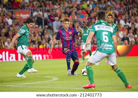 BARCELONA, SPAIN - AUGUST 18: Munir El Haddadi of FCB in action at Gamper friendly match between FC Barcelona and Club Leon FC, final score 6-0, on August 18, 2014, in Camp Nou, Barcelona, Spain. - stock photo
