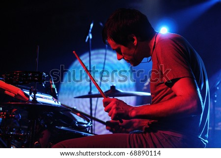 BARCELONA, SPAIN - DEC 12: Caribou drummer, performs at Discotheque Razzmatazz on December 12, 2010 in Barcelona, Spain. Razzmatazz celebrates his 10th anniversary. - stock photo