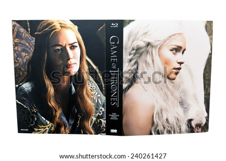 BARCELONA, SPAIN - DEC 27, 2014: Game of Thrones, a famous television series, on Blu-Ray disc, with Daenerys Targaryen (Emilia Clarke) on its cover, isolated on white background. - stock photo