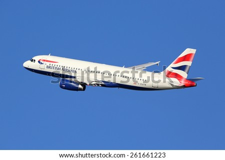 BARCELONA, SPAIN - DECEMBER 11:  A British Airways Airbus taking off on December 11, 2014 in Barcelona. British Airways is the international airline of Great Britain with its headquarters in London. - stock photo