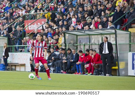 BARCELONA, SPAIN - DECEMBER 7: Filipe Luis of Atletico in action at Spanish Cup match between Sant Andreu and Atletico de Madrid, final score 0-4, on December 7, 2013, in Barcelona, Spain. - stock photo