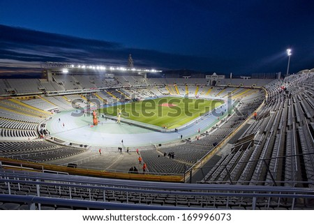 BARCELONA, SPAIN - DECEMBER 30: Stadium view before the friendly match between Catalonia and Cape Verde, final score 4-1, on Decembre 30, 2013, in Olympic stadium Lluis Companys, Barcelona, Spain. - stock photo