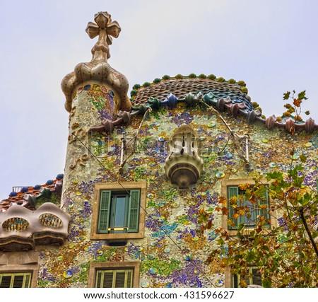 Barcelona, Spain. Famous house Casa Batllo, Gaudi - stock photo