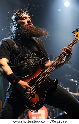 BARCELONA, SPAIN - FEB 5: Cavalera Conspiracy, performs at Razzmatazz on February 5, 2011 in Barcelona, Spain. Max and Igor Cavalera were the founders of the legendary band Sepultura. - stock photo