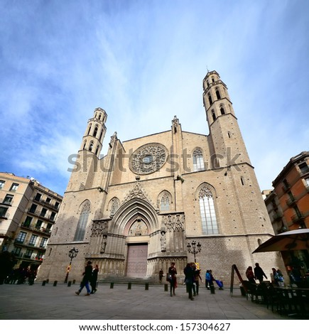 BARCELONA, SPAIN - FEB 2: Santa Maria del Mar is an church in the Ribera district of Barcelona, built between 1329 and 1383, as an outstanding example of Catalan Gothic, on Febrary 2, 2013. Barcelona - stock photo