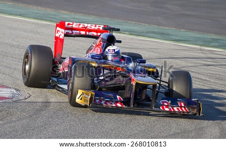 BARCELONA, SPAIN - FEBRUARY 21: Daniel Ricciardo of Toro Rosso F1 team races during Formula One Teams Test Days at Catalunya circuity, Barcelona, Spain. - stock photo