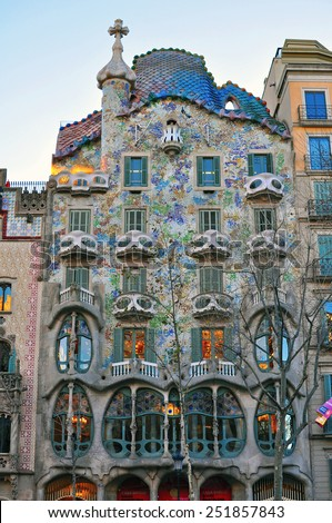BARCELONA, SPAIN - FEBRUARY 5: Facade of the Casa Batllo by Gaudi in Barcelona in the street of Barcelona on February 5, 2015. Barcelona is the capital city of Catalonia, Spain. - stock photo