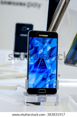 BARCELONA, SPAIN - FEBRUARY 27, 2016: New Samsung Galaxy S7 presented at Mobile World Centre of Barcelona during Mobile World Congress 2016 in Barcelona, Spain. - stock photo