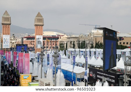 BARCELONA, SPAIN - FEBRUARY 26: Outdoor impression at the first day of the Mobile World Congress 2012, on February 26, 2012 in Barcelona, Spain - stock photo