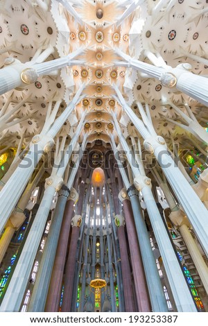 BARCELONA, SPAIN - FEBRUARY 27: Sagrada Familia, interior view on February 27, 2013 in Barcelona, Spain. Designed by Antoni Gaudi, the church is still incomplete. - stock photo