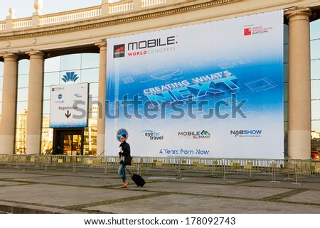 BARCELONA, SPAIN  FEBRUARY 22: The Mobile World Congress is the world's largest exhibition for mobile industry. Expected attendance is more than 70,000 people. February 22, 2014 in Barcelona, Spain  - stock photo