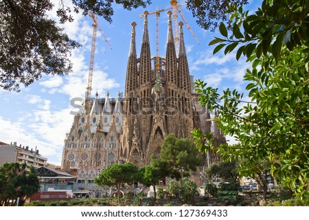 BARCELONA, SPAIN - JANUARY 21: La Sagrada Familia - impressive cathedral designed by Antonio Gaudi, being build since 19 March 1882 is yet to finish on January 21, 2013 in Barcelona, Spain - stock photo