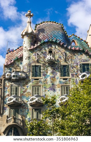 BARCELONA, SPAIN - JULY 26: Casa Batllo Facade. The famous building designed by Antoni Gaudi is one of the major touristic attractions in Barcelona. July 26, 2015 in Barcelona, Spain - stock photo