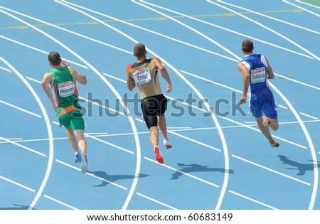 BARCELONA, SPAIN - JULY 29: Competitors of 200m Men of the 20th European Athletics Championships at the Olympic Stadium on July 29, 2010 in Barcelona, Spain - stock photo