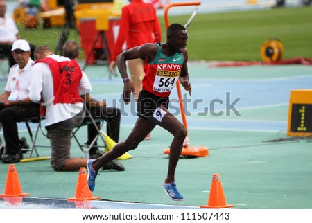 BARCELONA, SPAIN - JULY 15: Conseslus Kipruto - winner of 3000 metres steeplechase on IAAF World Junior Athletics Championships on July 15, 2012 in Barcelona, Spain - stock photo