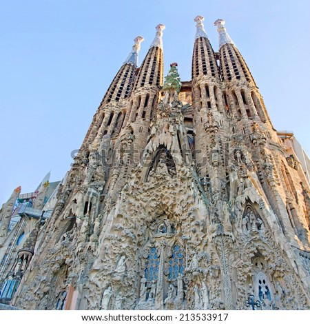 BARCELONA, SPAIN - JULY 10, 2014: Detail of Sagrada Familia church (Temple Expiatori de la Sagrada Famalia) in Barcelona, Spain. Designed by Antoni Gaudi, UNESCO World Heritage Site.  - stock photo