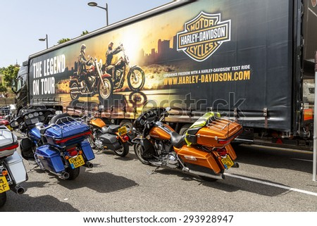 BARCELONA, SPAIN - JULY 04, 2015: Harley Davidson customized for exhibition during BARCELONA HARLEY DAYS 2015. - stock photo