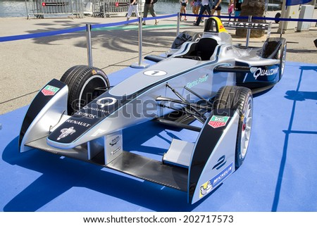BARCELONA, SPAIN - JUNE 7: Formula E Spark - Renault SRT 01E at 6to6 Barcelona Motordays, an automotive feast of supercars and luxury brands, on June 7, 2014, in Moll de la Fusta, Barcelona, Spain. - stock photo
