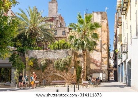BARCELONA, SPAIN - JUNE 25. Roof-garden in the Barcelona district La Ribera on June 25, 2015. The citizens in this historical narrow district like to have greenery around the residential quarter - stock photo