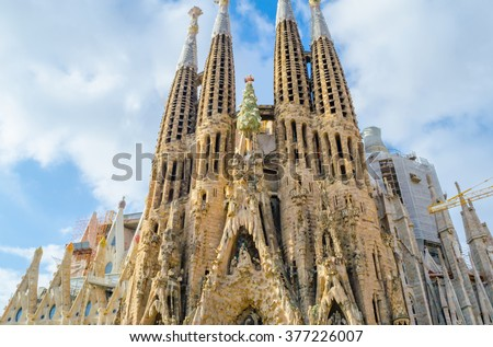 BARCELONA, SPAIN - 29.09.2015: La Sagrada Familia - the impressive cathedral designed by Gaudi, which is being build since 19 March 1882 and is not finished yet - stock photo