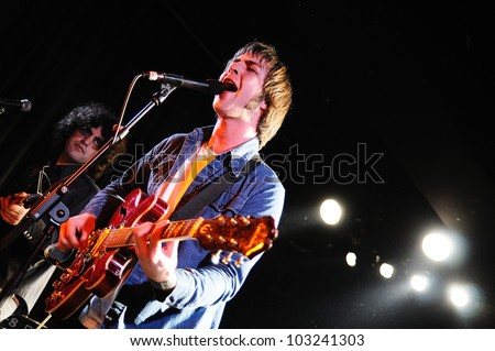 BARCELONA, SPAIN - MAR 21: Fuckin' Bollocks band performs at Apolo on March 21, 2012 in Barcelona, Spain. - stock photo