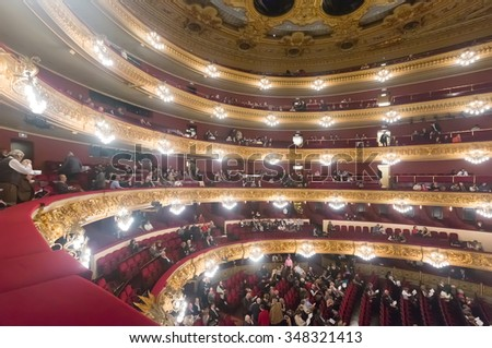 BARCELONA, SPAIN - MARCH 27, 2015: Audience at Beethoven Concert in The Gran Teatre del Liceu, famous opera house at Barcelona, Catalonia. - stock photo