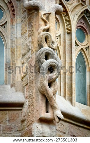 BARCELONA, SPAIN - MARCH 04, 2015: Detail of Sagrada Familia church (Temple Expiatori de la Sagrada Famalia) in Barcelona, Spain. Designed by Antoni Gaudi, UNESCO World Heritage Site.  - stock photo