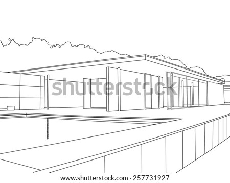 BARCELONA, SPAIN - MARCH 4, 2015: Line drawing of the Barcelona Pavilion  Spain. Barcelona Pavilion was designed by Mies for the 1929 International Exposition in Barcelona.  - stock photo