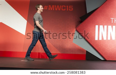 BARCELONA, SPAIN - MARCH 2, 2015: Mobile World Congress 2015. Mark Zuckerberg, Facebook's CEO, at Mobile World Congress 2015 - stock photo