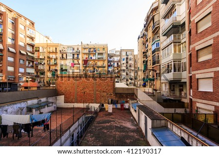 BARCELONA, SPAIN - MAY 8, 2009: Exterior view of apartments. The Mediterranean  style of buildings and way of liven shows in the very fabric of the local architecture. - stock photo