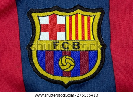 BARCELONA, SPAIN - MAY 8, 2015: FC Barcelona T-shirt Badge. FC Barcelona is a football team based in Barcelona, Catalonia, Spain. - stock photo