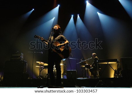 BARCELONA, SPAIN - MAY 3: Mishima band performs at Teatre Lliure on May 3, 2012 in Barcelona, Spain. - stock photo