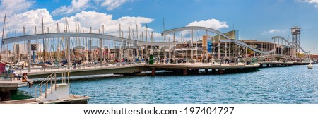 BARCELONA, SPAIN - MAY 2: Port Vell on May 2, 2014 in Barcelona. Port Vell and Maremagnum - one of main attractions in Barcelona.  - stock photo